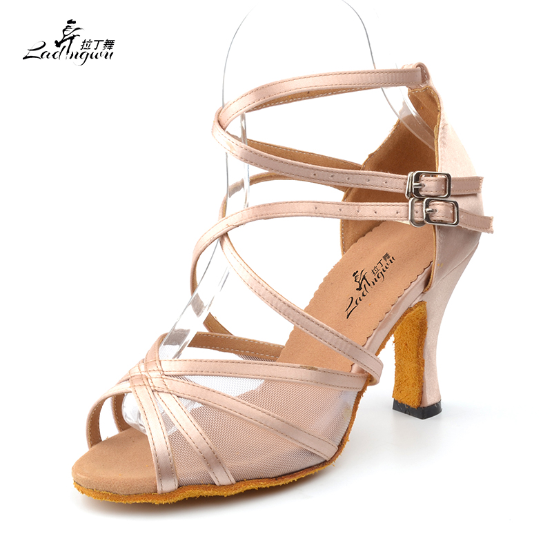 Ladingwu New Brand Satin and Mesh Color Khaki Latin Dance Shoes For Women's High Heel Shoes Ballroom Salsa Party Dance Shoes