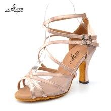 Ladingwu nova marca de cetim e malha cor cáqui sapatos de dança latina para as mulheres salto alto sapatos de dança de salão salsa festa