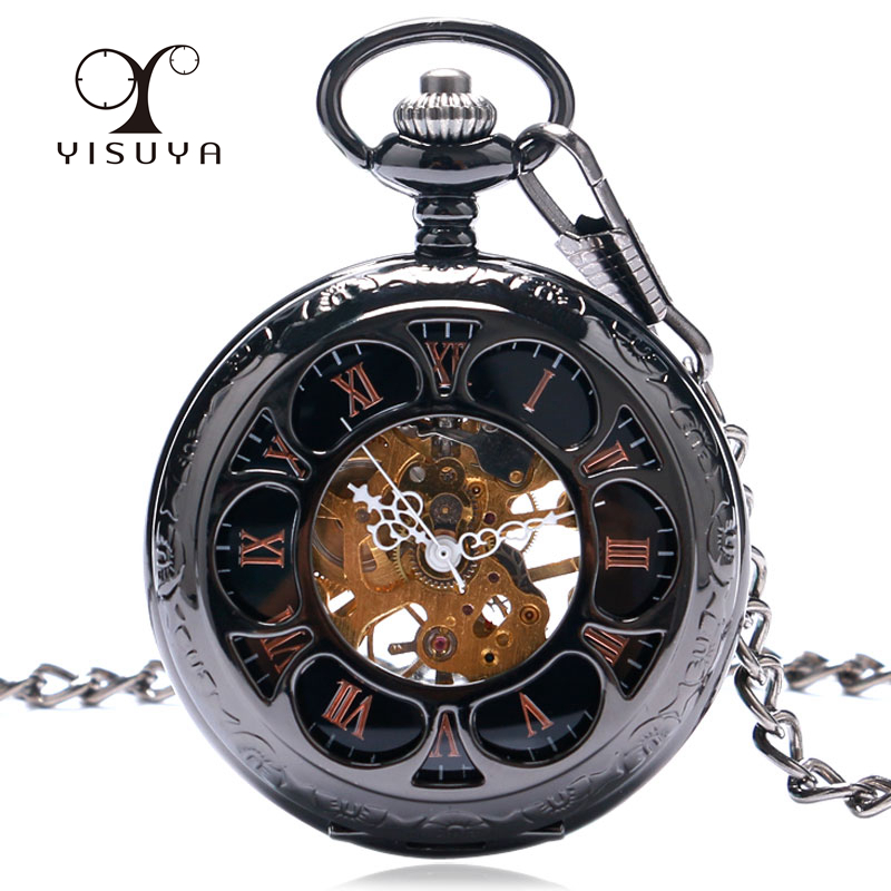 YISUYA Men Women Mechanical Pocket Watch Mechanical Hand Wind Stainless-steel Case Roman Numeral Skeleton Analog Fob Watches