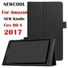 Grano del lichí de LA PU funda de piel para Kindle Fire HD 8 2017 Imán La Cubierta del tirón Para Amazon Fuego Nuevo HD8 2017 caja de la Tableta cubierta elegante