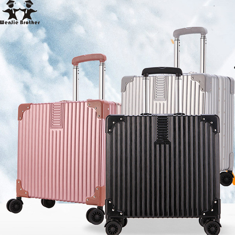 Wenjie brother 2018 new quality Aluminum frame and PC travel trolley case hardside rolli ...