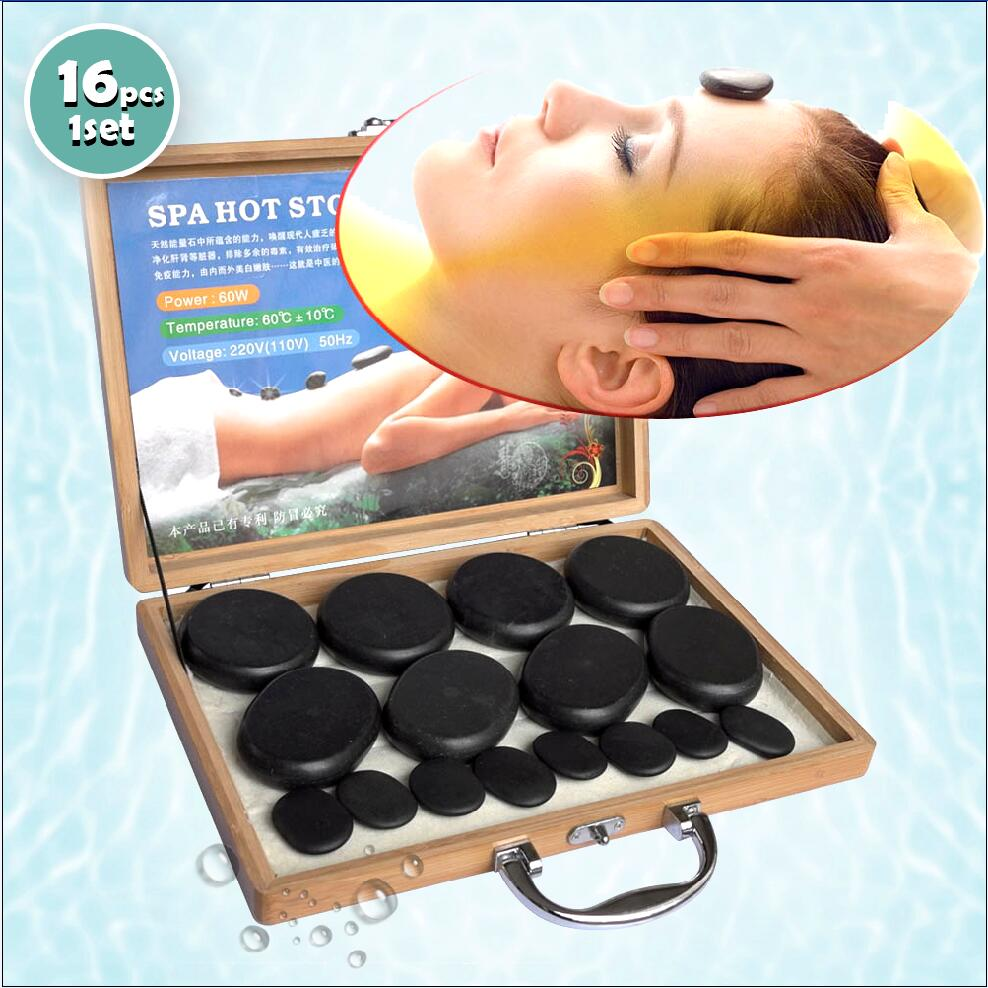 Pierres de Massage chaudes lave pierre naturelle ensemble Spa pierre de basalte bambou boîte de chauffage énergie