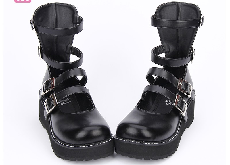 Princess sweet punk shoes Japanese design custom black thick platform round-toe med motorcycle punk boots pu9613