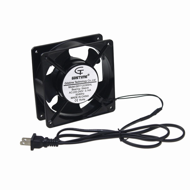 Gdstime 1 Piece AC Fan 220V 240V Industrial Cooling Fan 120mm x 38mm Power Supply Plug Metal Cooler 12038 12cm delta qfr1212ehe 120mm 1238 12038 12cm 12 12 3 8cm 120 120 38mm fan 12v 1 5a cooling fan