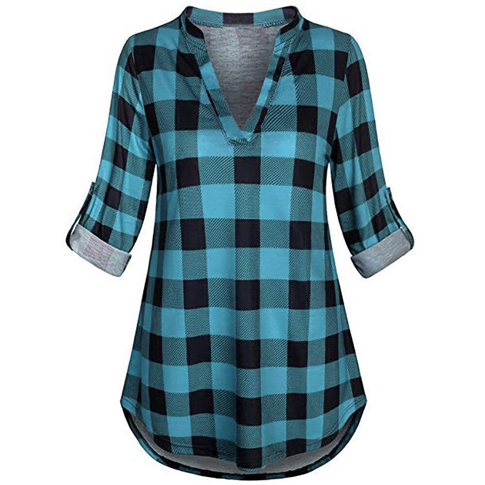 Femmes Blouses Plaid col en V longue Sleve chemise Blouse femmes chemises Camisa Mujer dames Blouses Tunique Femme Haut 5XL grande taille