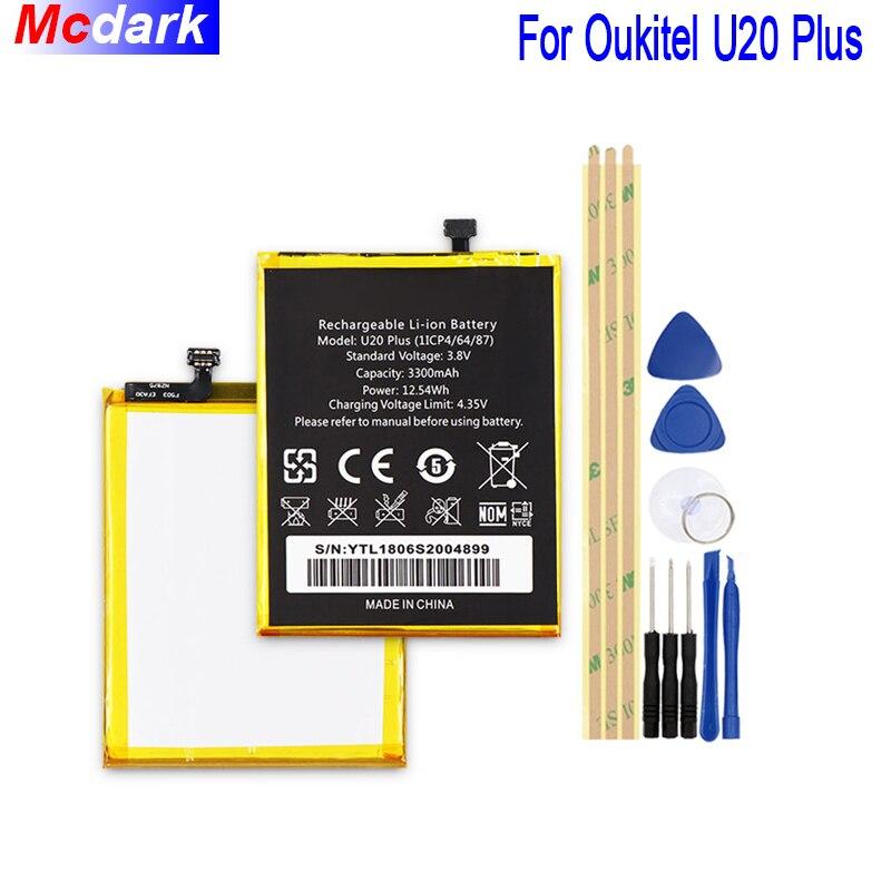 Mcdark 3300 mAh Haute Capacité Batterie Pour Oukitel U20 Plus Batterie Bateria Accumulateur AKKU ACCU PIL Mobile Téléphone avec Outils