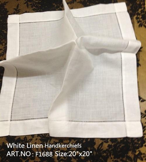 Set Of 12 Fashion Handkerchiefs White Linen Table Napkins  Hemstitched Border Dinner Napkins 20x20-inch