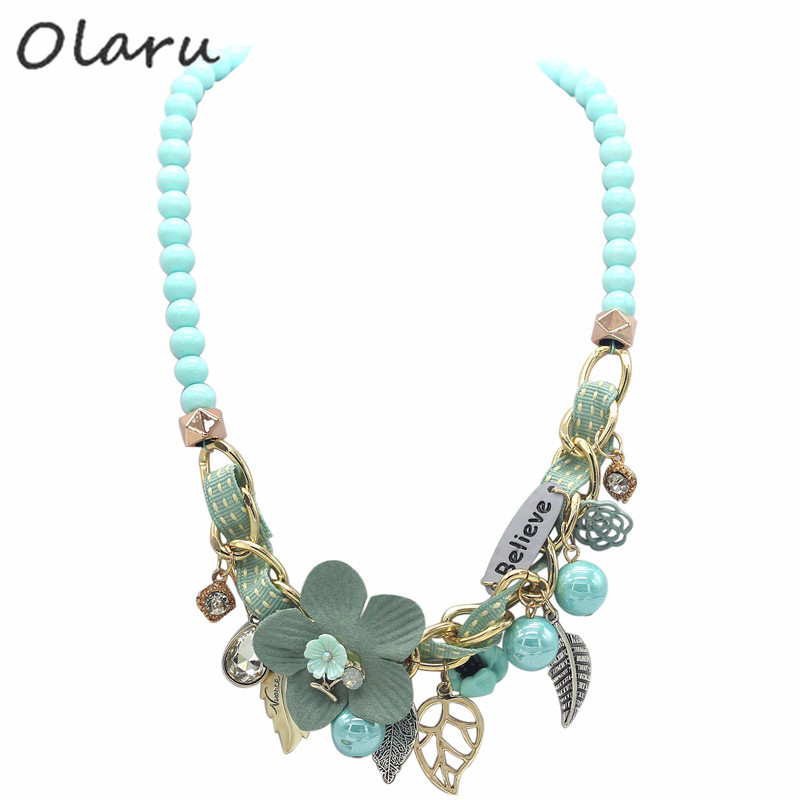 Accessori dei monili di Olaru Nizza fiore foglia Believe Ciondolo Neckalce Donna Corda preparata Crystal Maxi Beads collana a catena regalo