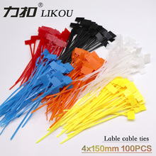 LIKOU 6 Colors Llaber Cable ties 100Pcs Zip Ties Write On Ethernet RJ45 RJ12 Wire Power Label Mark Tag