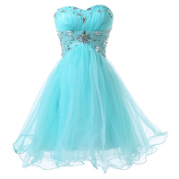 2015 New Fashion Blue Short Design Knee Length Ball Gown Prom Dress Formal Quinceanera Homecoming Dresses