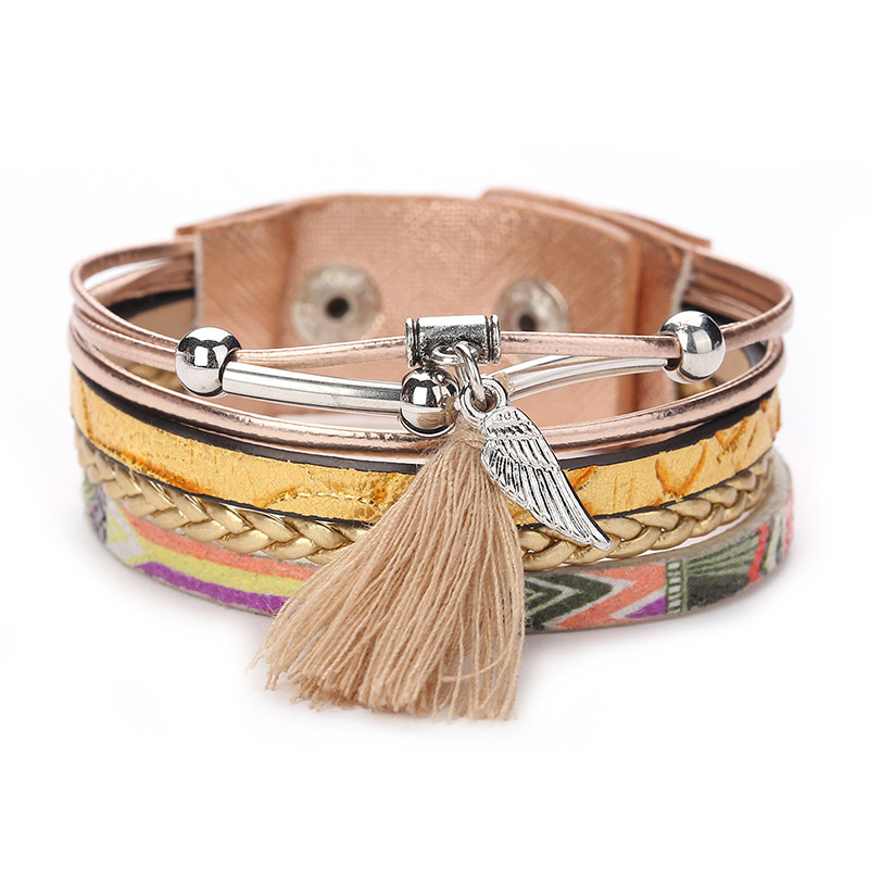 ZG Bracelet Fashion Bracelets & Bangles For Women Trendy Multi Rows Rhinestone Set Leaf Feather Charm Wrap Printed Leather Wrap