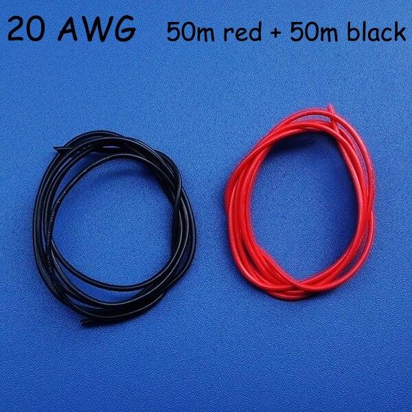 50 mt Rot + 50 mt Schwarz UL 20 AWG 3239 Hochdruck Silica Draht, 0.5 ...