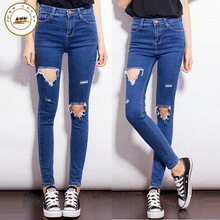 Women's fashion brand crop of high-waisted skinny jeans slim pencil jeans torn ripped holes pants female sexy girls pants