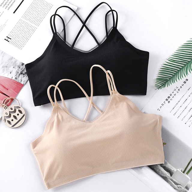 Women Tube Top Cross Strap Tanks Sleeveless Women Brassiere Breathable Beauty Back Bra Camisoles