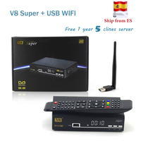HD Freesat V8 Super DVB S2 Satellite Receiver Full 1080P USB Wifi Antenna For 1 Year