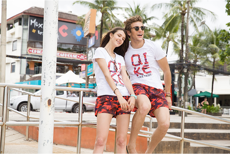 roupas esportivas praia banho casal surf curto