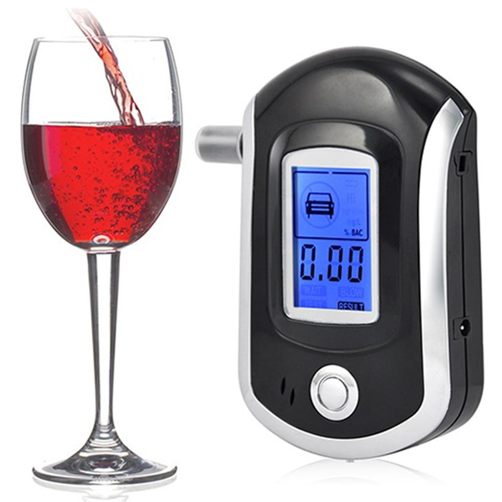 AT6000 NOVINKA Hot selling Profesionální policie Digitální dýchání Tester alkoholu Breathalyzer 5 Hubičky Doprava zdarma Dropshipping