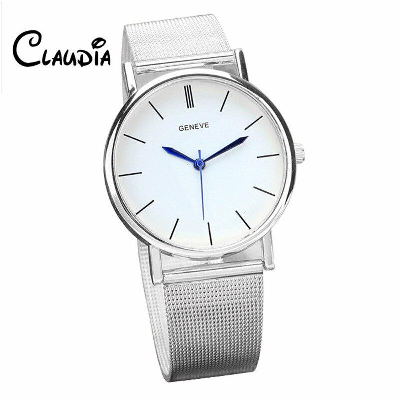 CLAUDIA New Men Watch Fashion Watch Stainless Steel Quartz Women's Wrist Watches Mesh Relogio Freeshipping roomble claudia