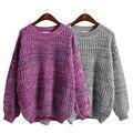2016 Nueva moda Estilo Simple Del Color Sólido Del O-cuello Grueso Suéter mujer de Manga Larga Pullover tops tallas grandes