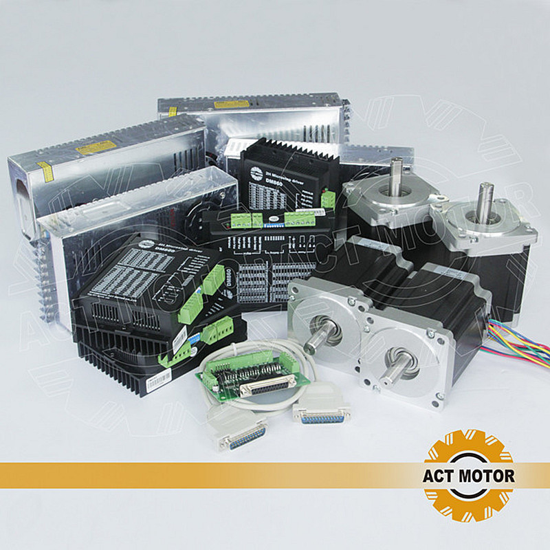 ACT Motor 4Axis CNC Nema34 Stepper Motor 34HS5435 Single Shaft 1600oz 3 5A 3PCS Driver DM860