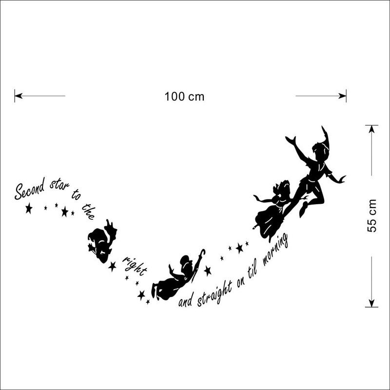 Second Star To The Right Quote Tinkerbell Peter Pan Wall Sticker