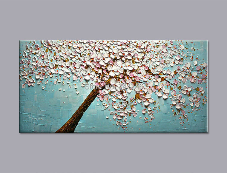 Hand Painted Modern Home Decor Wall Art Picture White Pink