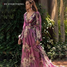 Floral Boho Dress Summer 2019 Women Purple Pleated Chiffon Bohemian Sexy Long Dresses Ladies Maxi Beach
