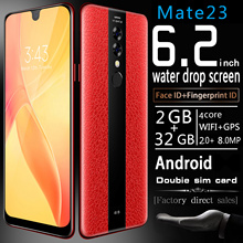 Get more info on the Smartphone 6.2 Inch Mate23 Cellphones Water Drop Screen with Luxury Leather Cover Unlocked Dual Sim Mobile Free Shipping