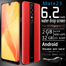Smartphone 6.2 Inch Mate23 Cellphones Water Drop Screen with Luxury Leather Cover Unlocked Dual Sim