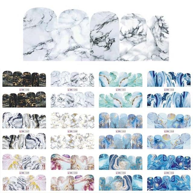 12 デザイン大理石の質感ネイルステッカー水デカールグレーブルーマーブルシリーズネイルのヒントマニキュアフルラップ装飾 BN1345 1356