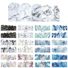 12 Designs Marble Texture Nail Sticker Water Decals gray blue Marble Series Nail Tips Manicure Full Wraps Nail Decor BN1345 1356