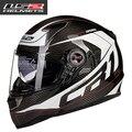 El casco de la motocicleta LS2 FF396 casco de carreras de fibra de carbono de doble lente con airbag