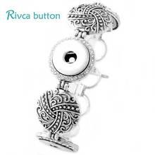 P00770 -9 Snap Button Bracelet&Bangles Plated Antique Silver Alloy Charm Bracelet Woman FIt Ginger Rivca Snap Button Jewelry