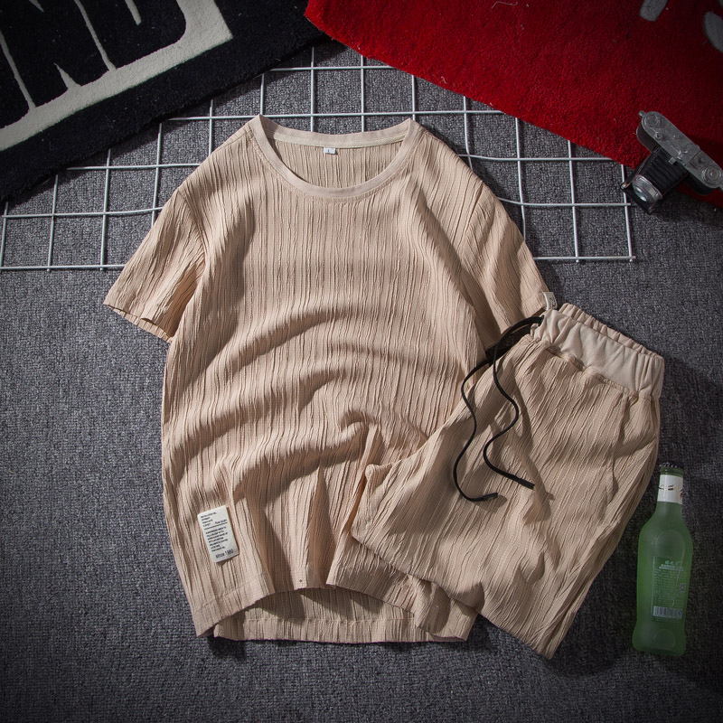 New Fashion Men Summer Simple Suit Round Collar Short Sleeved Solid Color T-Shirt With Rope Five Shorts Men Casual Suit