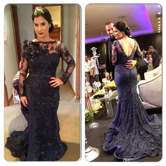 4cfb9d8280a4 Navy Blue Mermaid Evening Dresses Bateau Neck Long Sleeve Lace Beaded  Arabic Party Dresses Dubai Court Train Prom Gown