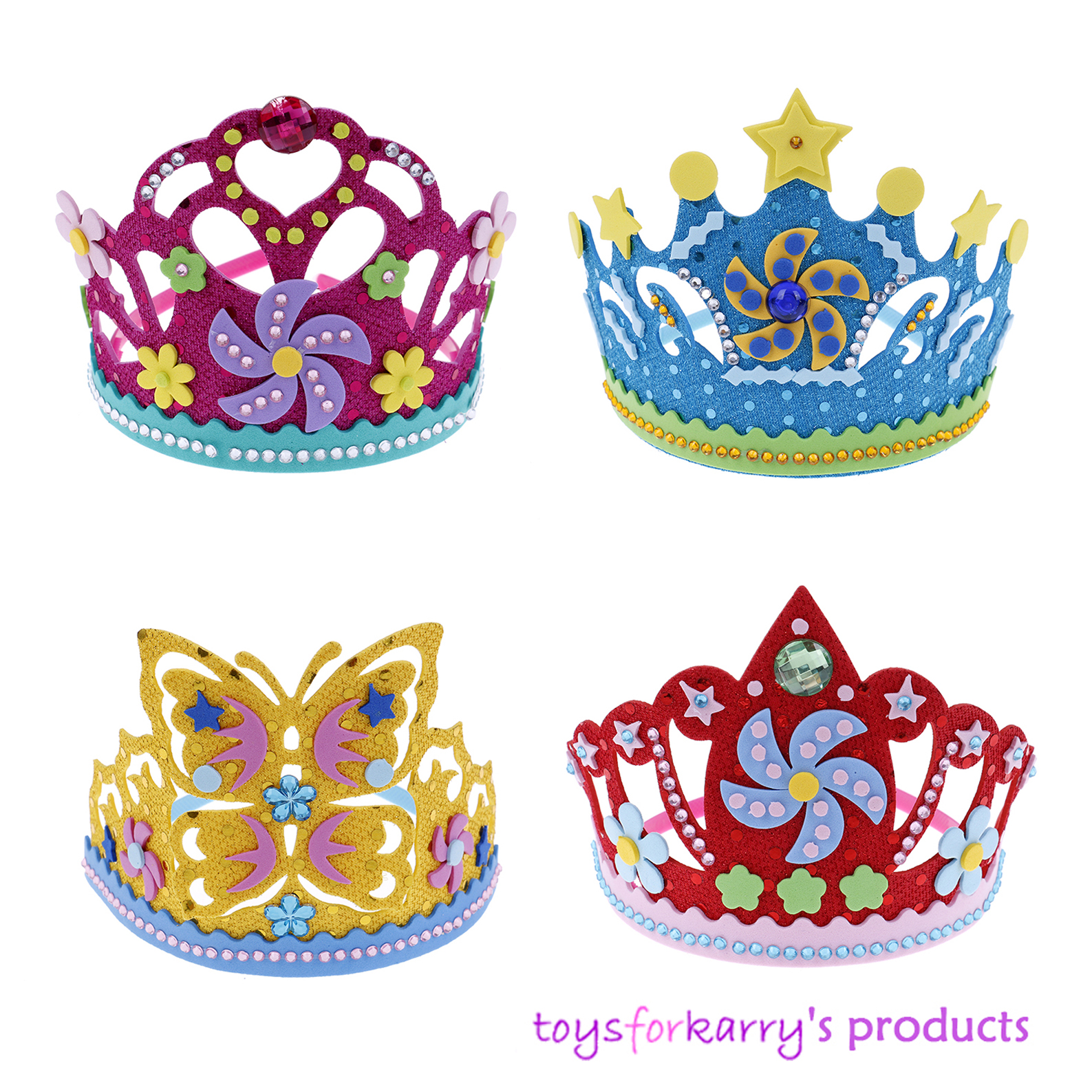 DIY Craft EVA Foam Crown Creative Paper Sequins Flowers Stars Patterns Toys For Children Kindergarten Art Party Decorations Gift