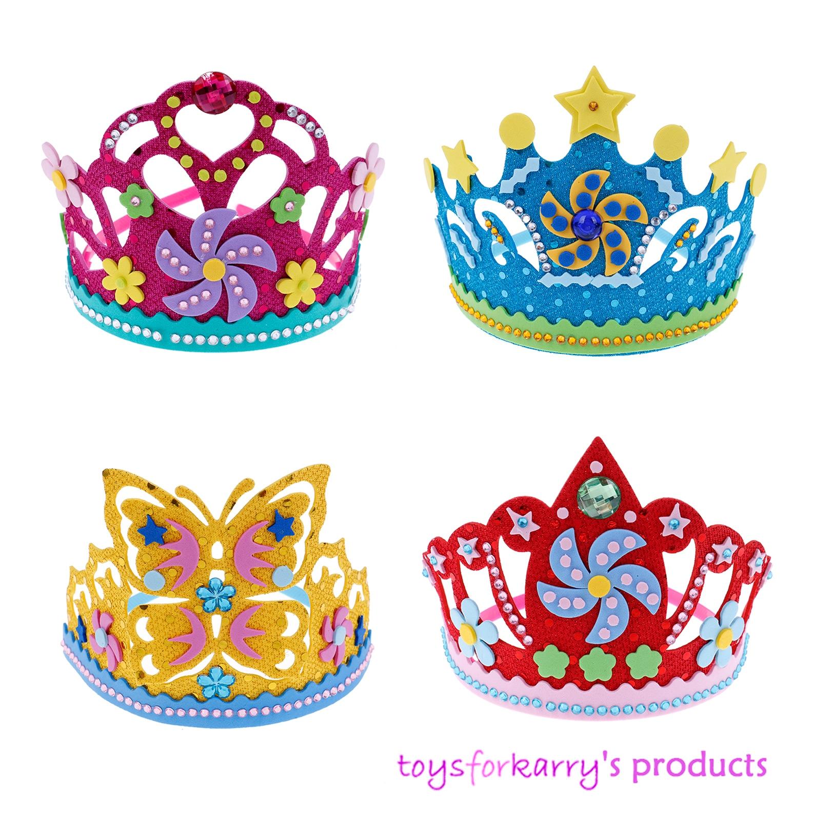 DIY Craft EVA Foam Crown Creative Paper Sequins Flowers Stars Patterns Toys For Children Kindergarten Art Party Decorations Gift