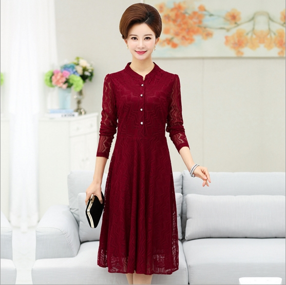 ca5565bf90e2f US $25.72 49% OFF|Clobee 2017 middle aged women tunic flare vestido  geomatrical hollow out lace dress elegant plus size vintage femme jurken  P217-in ...