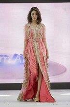Top Quality Caftan Marocain Islamic Abaya in Dubai Evening Dress Pink Long Sleeve Front Slit Evening Gowns Moroccan Kaftan