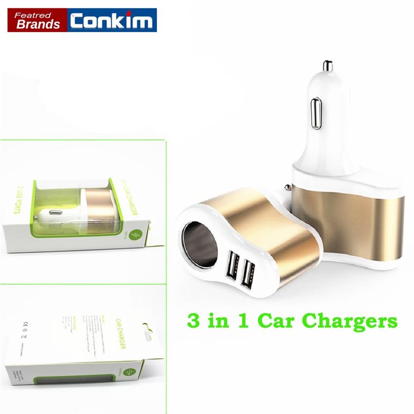Conkim Autolader 5 V 3.1A Dual Usb-poort Auto Sigaret Socket - Auto-elektronica - Foto 1