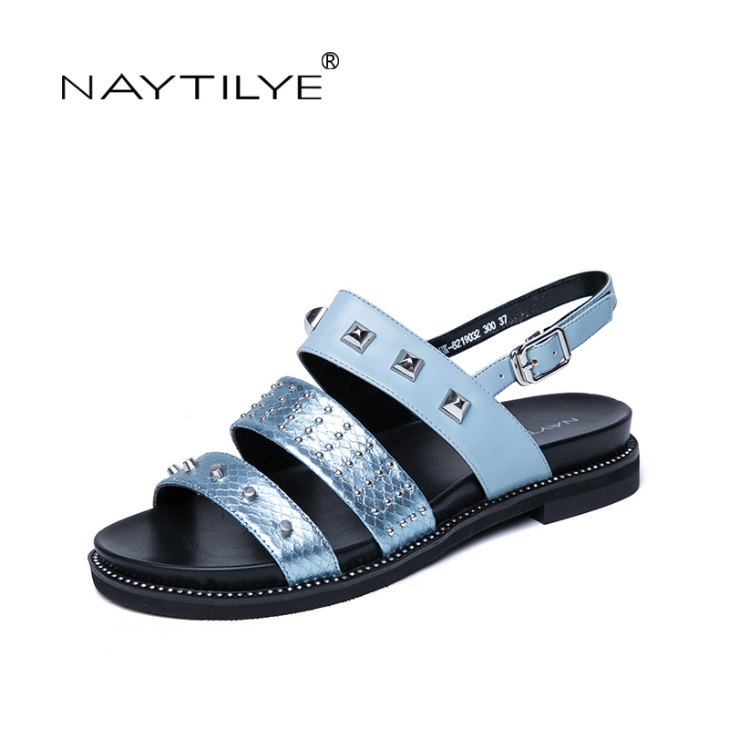 NAYTILYE NEW 2018 ECO-leather casual sandals Summer shoes woman back strap with rivets blue Russian size 35-40 Free shipping sandals new summer 2017 basic shoes woman open back strap sandal square heel fashion beige black 35 40 free shipping bassiriana