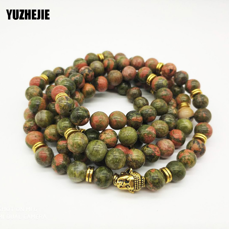 108 Natural Beads Mala Bracelet Lotus Flower OM Wrist Buddhist Buddha Yoga Bracelets for Unisex Men azurite Stone bracelet