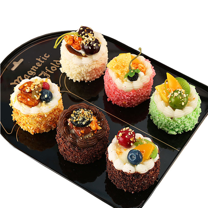 6pcs Artificial Cake Simulation Food Magnetic Refrigerator Paste Cake Home Decoration Display Wedding Decortion Valentine's Day