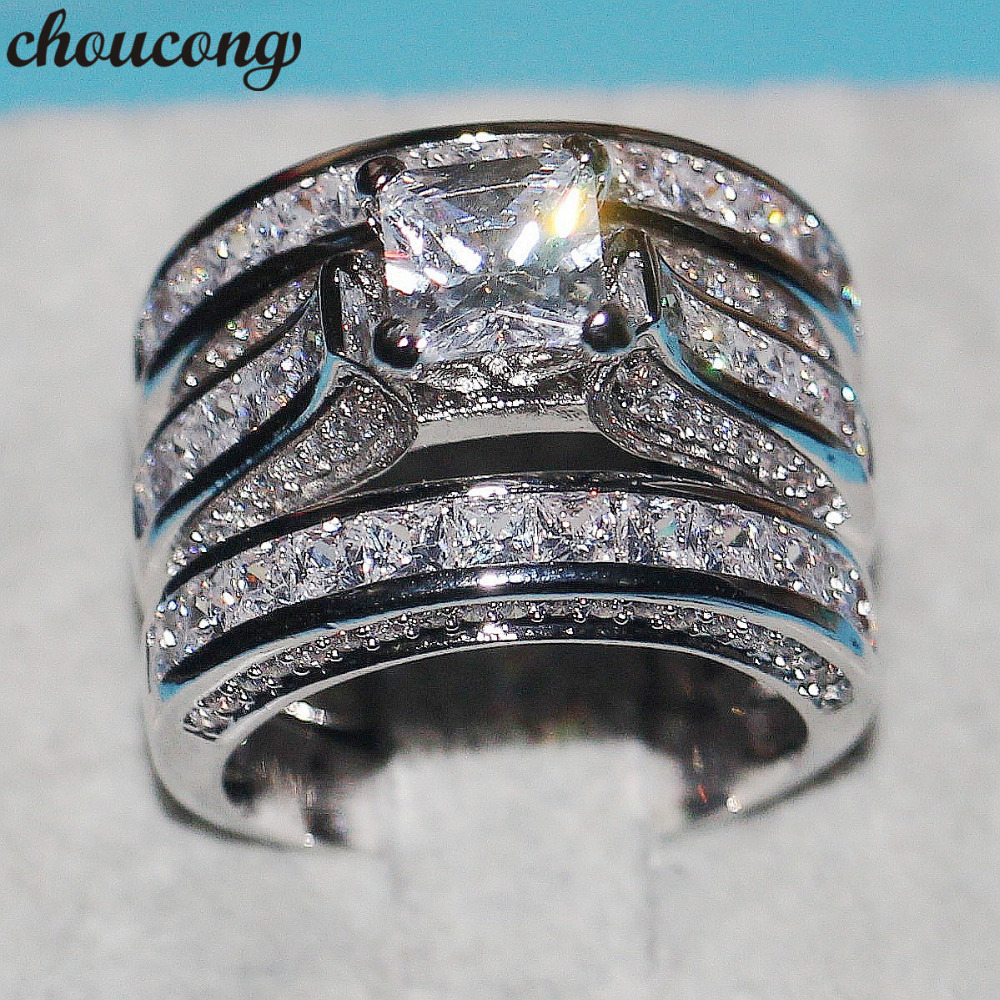 choucong Dropshipping Handmade Women Men Jewelry 3-in-1 Wedding ring 925 Silver Princess cut 5A Zircon Cz Engagement Band Rings men wedding band cz rings jewelry silver color anillos bague aneis ringen promise couple engagement rings for women