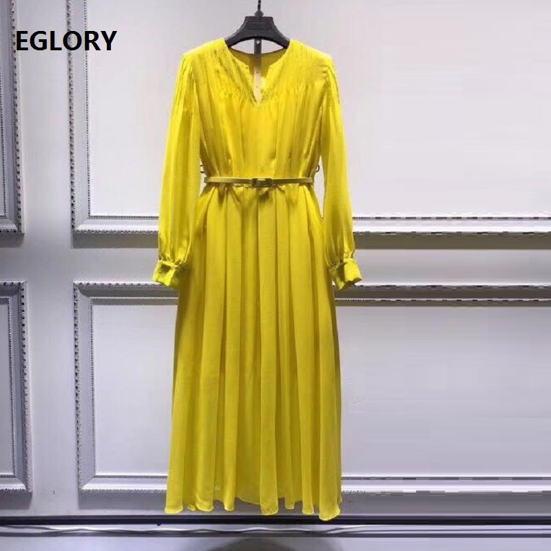Haute qualité nouvelle marque printemps été robe 2019 à la mode femmes v-cou plissé a-ligne élégante jaune noir vert robe femme