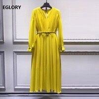 High Quality Brand New Spring Summer Dress 2019 Fashionable Women V Neck Pleated A Line Elegant Yellow Black Green Dress Female