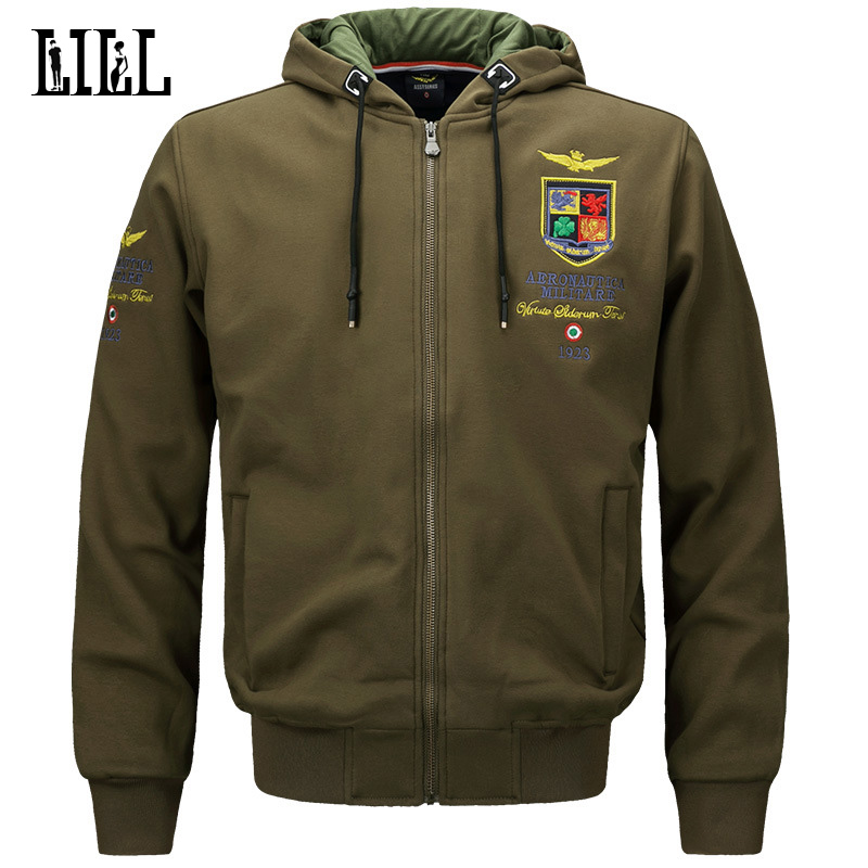 Military Style Embroidery Hoodies Men Sps