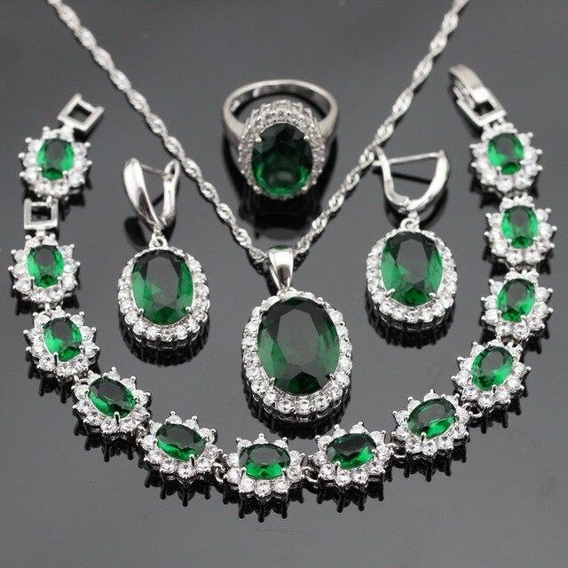 Зеленый Синтетический Изумруд Белый Серебряные Цвета Ювелирные Наборы Для Женщин Браслет Серьги Кольца Ожерелье Кулон Бесплатный Подарочная Коробка