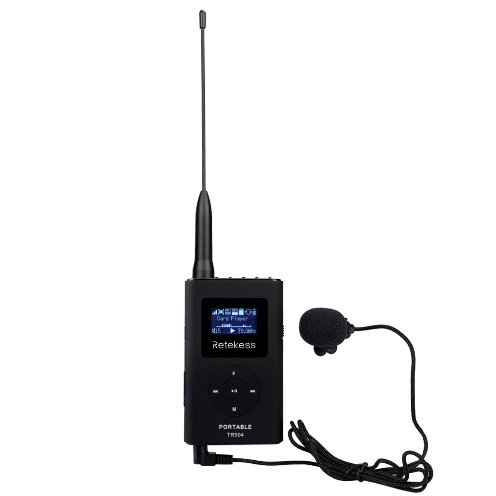 Retekess TR504 Portable FM Transmitter MP3 Broadcast Radio Transmitter for Meeting Tour guide 76 108MHz F9212B