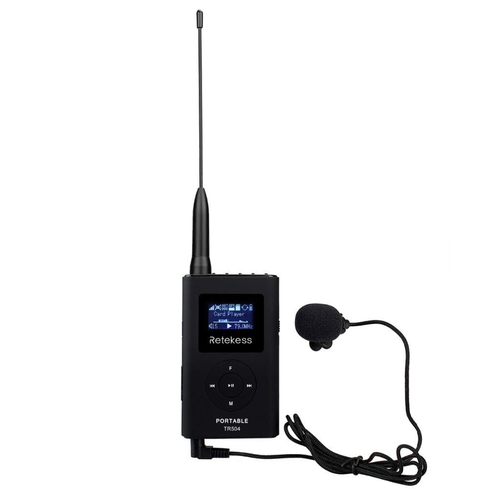 Retekess TR504 Portable FM Transmitter MP3 Broadcast Radio Transmitter for Meeting Tour guide 76 108MHz F9212B